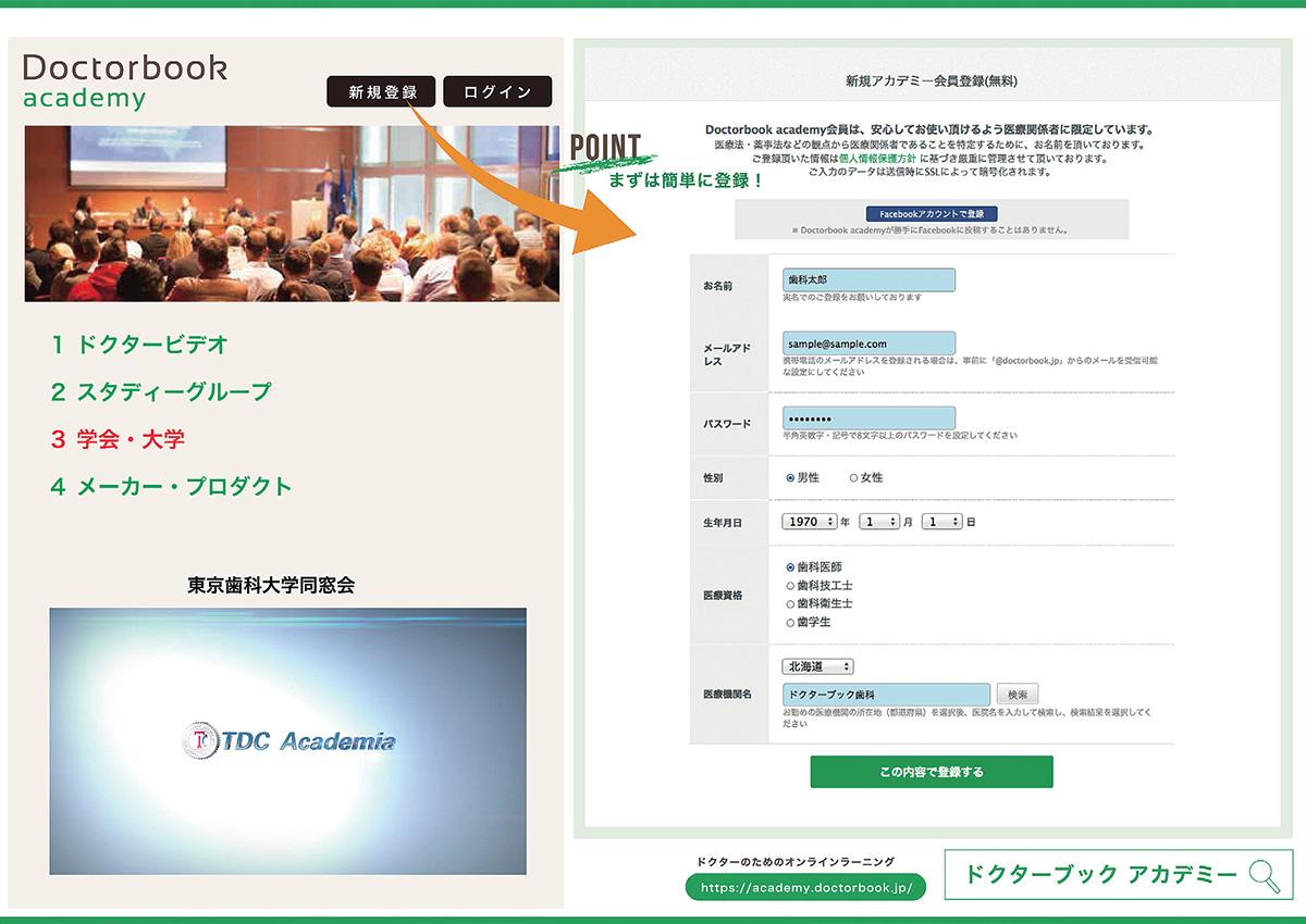 東京歯科大学同窓会 オンデマンド配信/Doctorbook academy登録方法